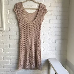 Free People midi sleeveless tan knit dress medium